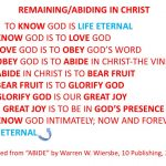 Remaining/Abiding In Christ